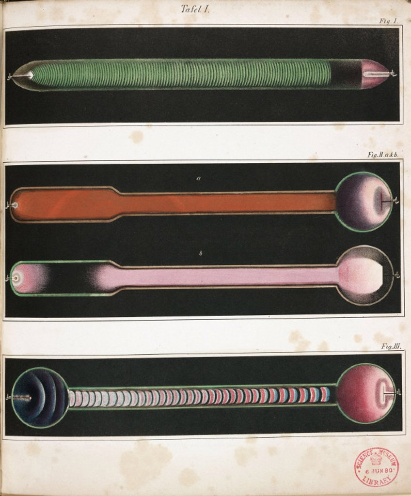 Glowing Geissler tubes, 1858. : Stock Photo