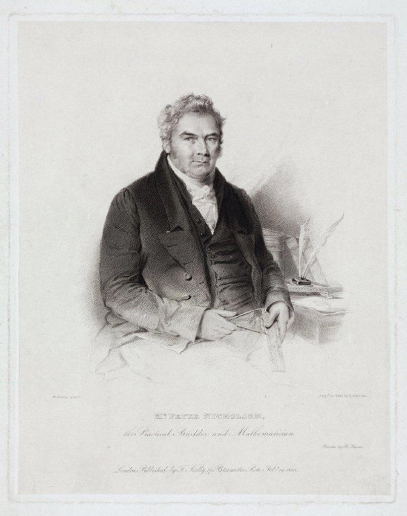 Stock Photo: 1895-25982 Peter Nicholson, British mathematician and architect, 1825.