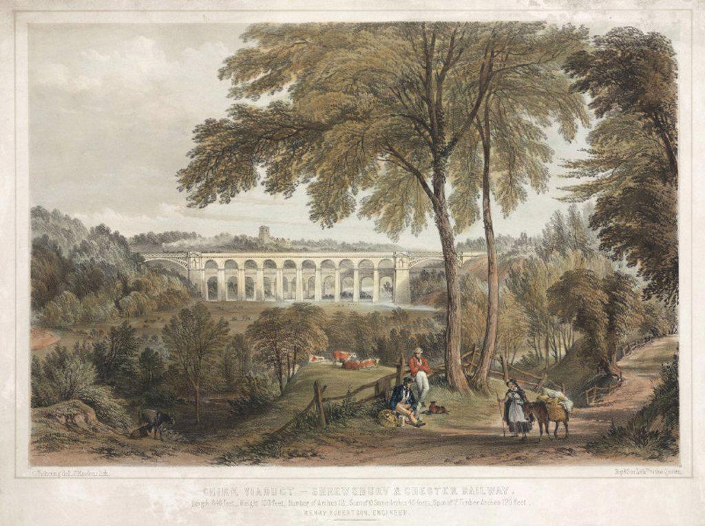 'Chirk Viaduct - Shrewsbury and Chester Railway', 1848. : Stock Photo