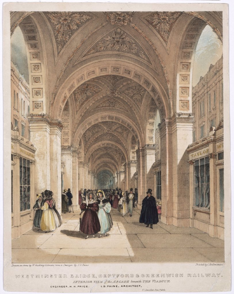 'Interior View of the Arcade beneath the Viaduct', 1836. : Stock Photo