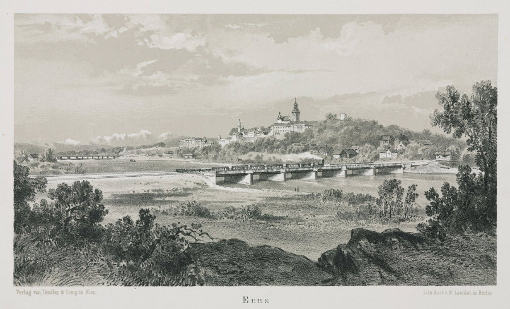 Stock Photo: 1895-26345 A view of the Empress Elisabeth train travelling through Enns, Austria, 1800s.