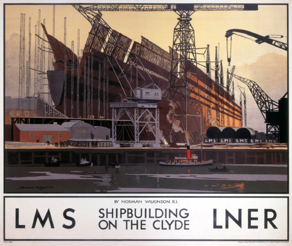 Stock Photo: 1895-2636 ´Shipbuilding on the Clyde´, LNER/LMS poster, 1923-1947.