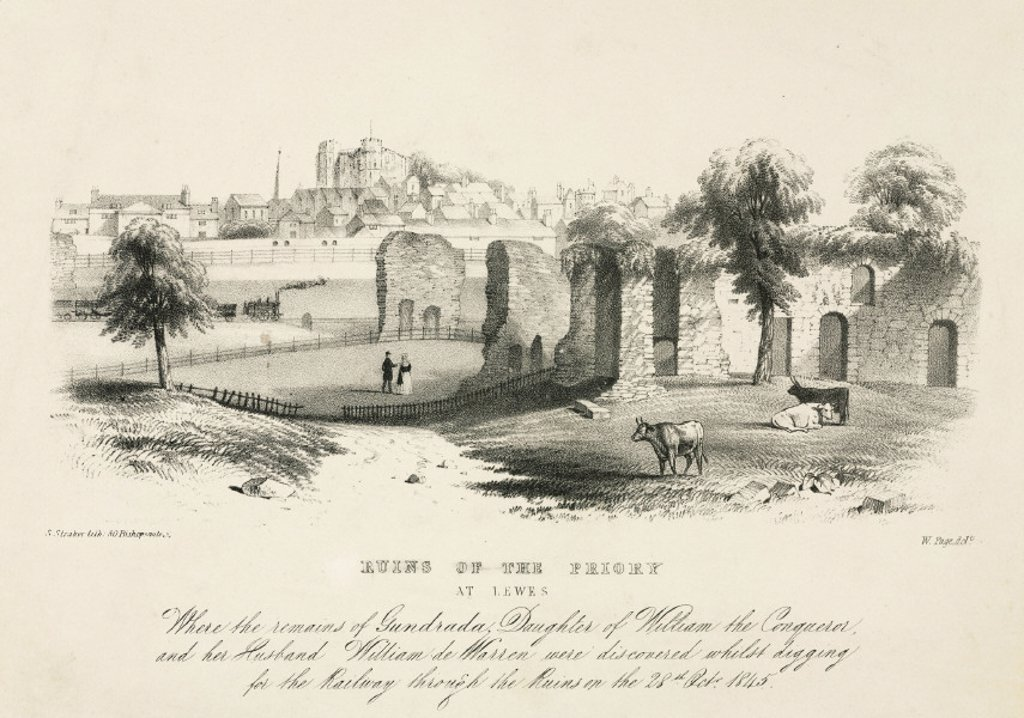 'Ruins of the Priory at Lewes', East Sussex, 1845. : Stock Photo