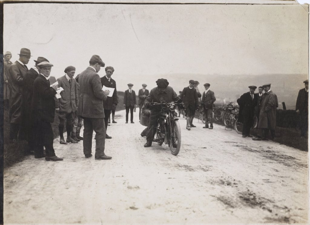 Motorcycle at a trials event, c 1912. : Stock Photo