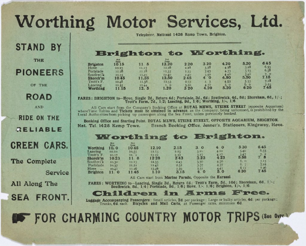 Worthing Motor Services Ltd bus timetable, 1909-1910. : Stock Photo