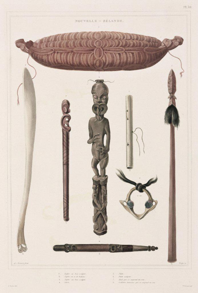 Maori artefacts, New Zealand, 1826-1829. : Stock Photo