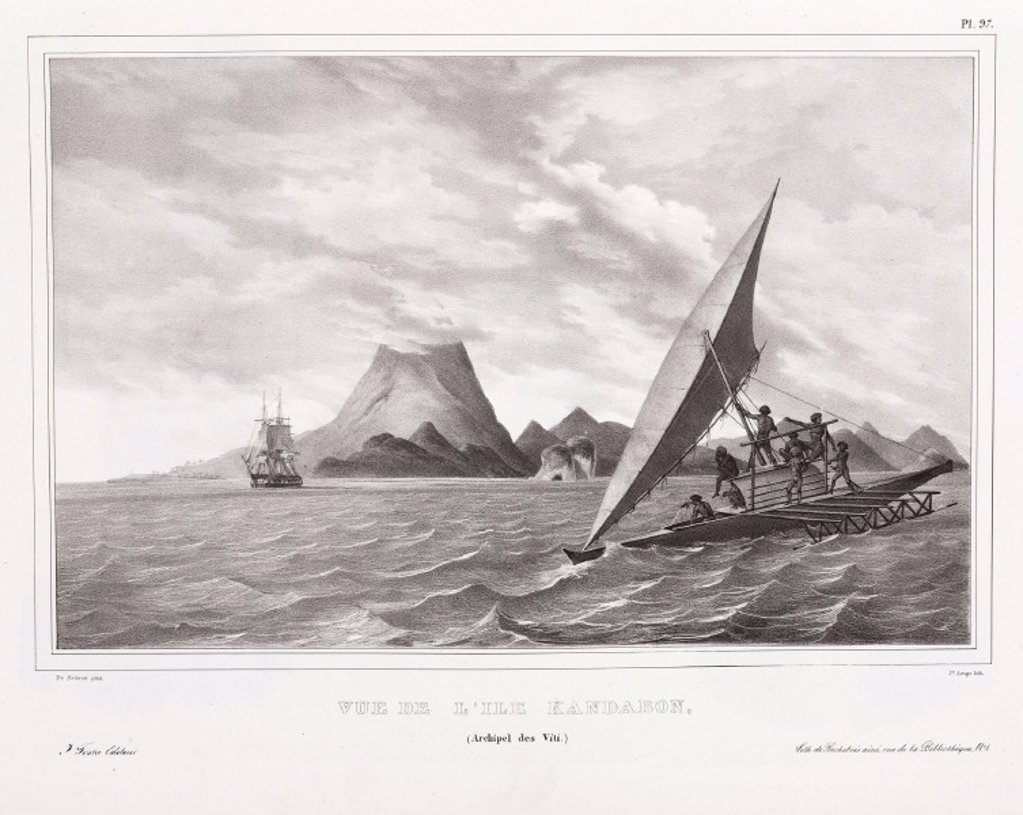 Fijians sailing, Kandabon Island, Fiji, 1826-1829. : Stock Photo