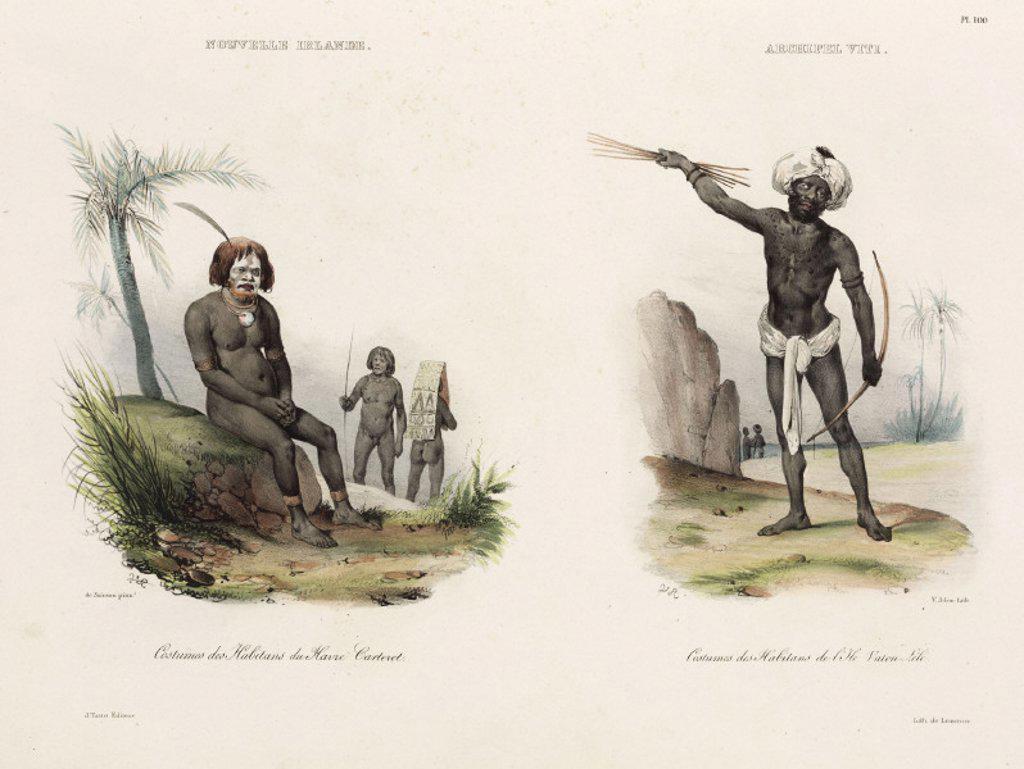 Men from New Ireland and Fiji, 1826-1829. : Stock Photo