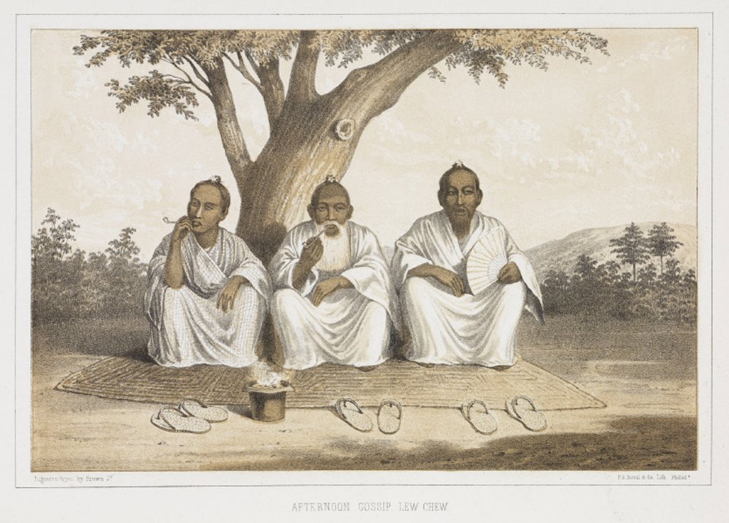 'Afternoon Gossip, Lew Chew', c 1853-1854. : Stock Photo