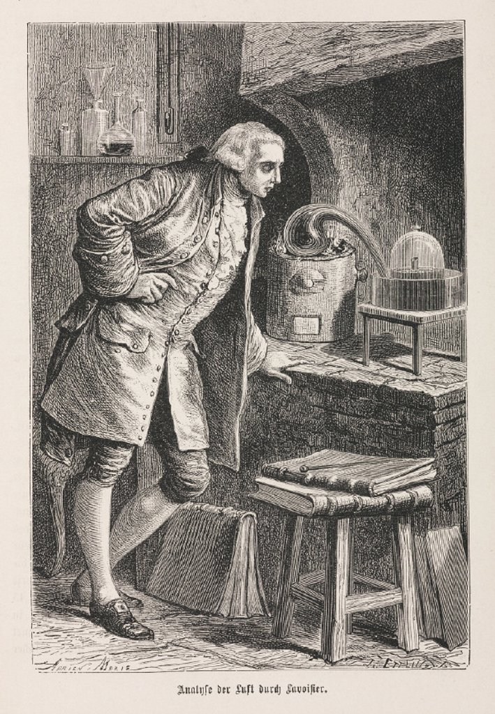 Analysis of air by Lavoisier, late 18th century. : Stock Photo