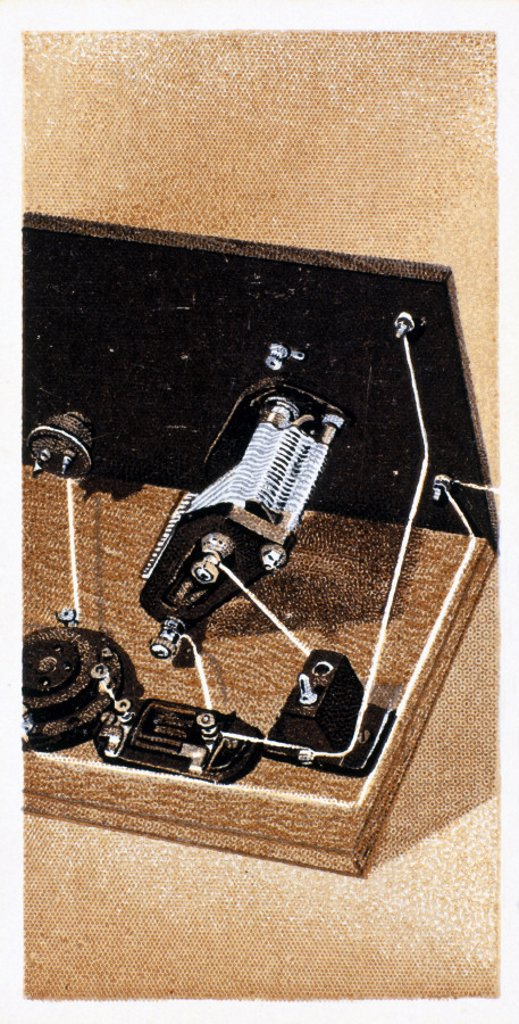 'How to build a two valve set', No 13, Godfrey Philips cigarette card, 1925. : Stock Photo