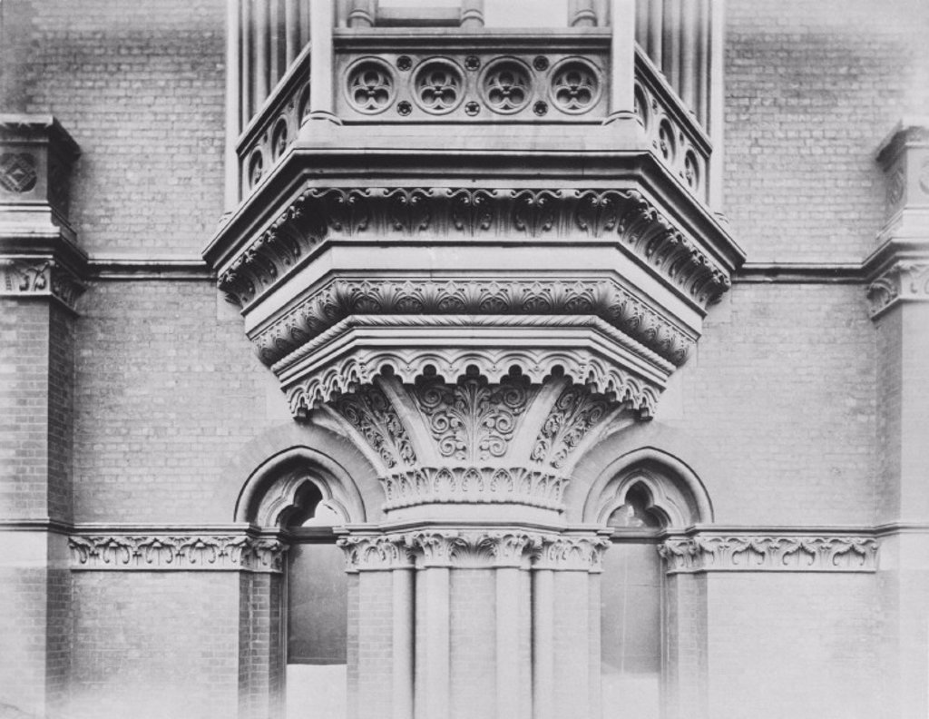 Exterior detail, Midland Grand Hotel, St Pancras station, London, c 1876. : Stock Photo