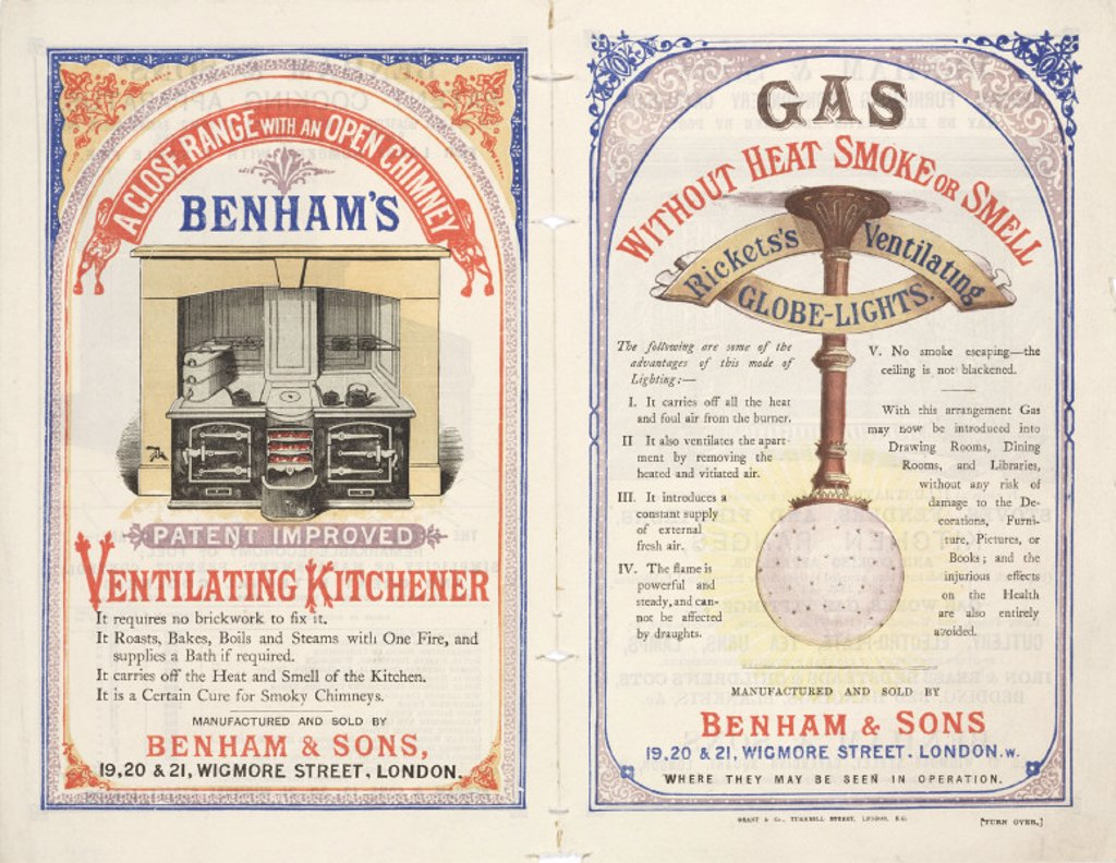 Gas cooking range and gas lights by Benham & Sons, late 19th century. : Stock Photo
