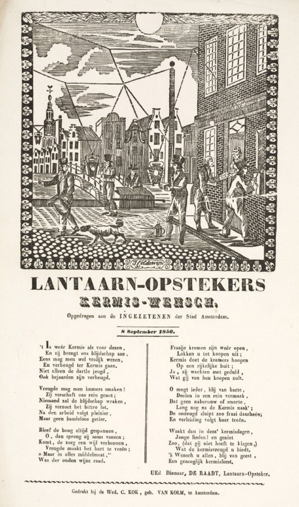 Gas lamplighters in Amsterdam, poster, 1856. : Stock Photo