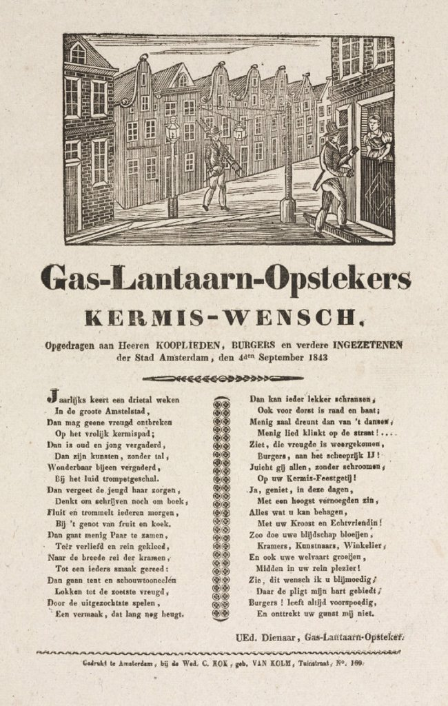 Stock Photo: 1895-27383 Gas lamplighters in Amsterdam, poster, 1843.