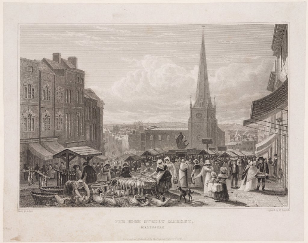 High street market, Birmingham, 1827. : Stock Photo