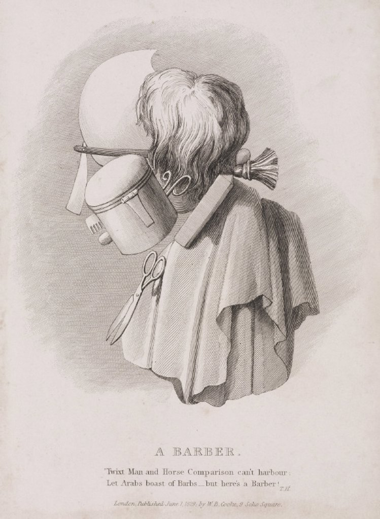 'A Barber', profile composed of hairdressing tools, 1829. : Stock Photo