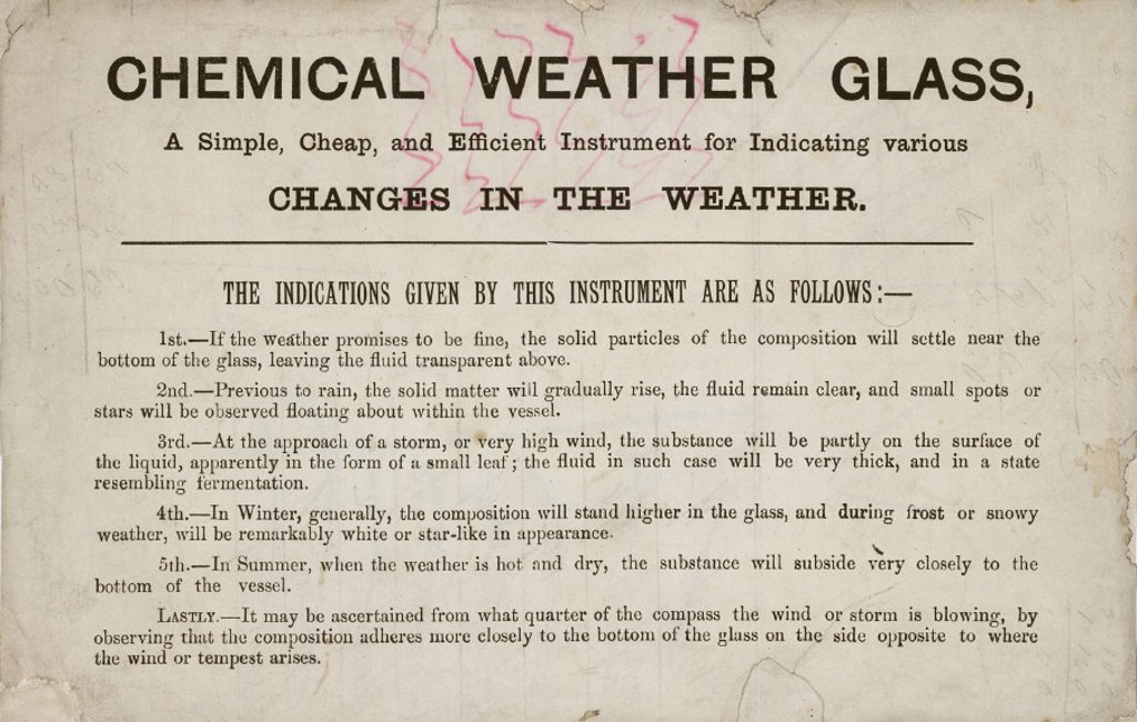 Stock Photo: 1895-27625 Description of a chemical weather glass, c 19th century.