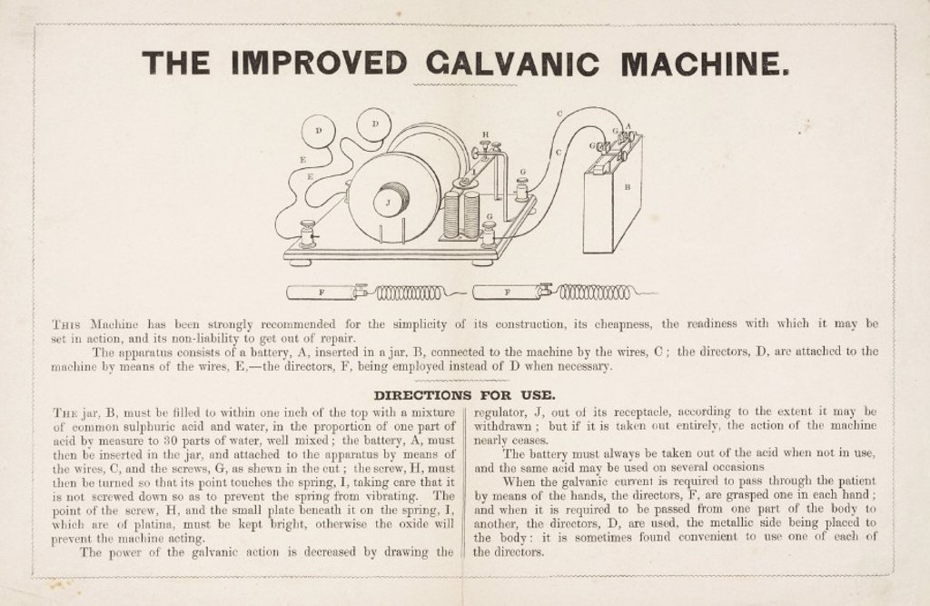 Directions for using 'The Improved Galvanic Machine', 19th century. : Stock Photo