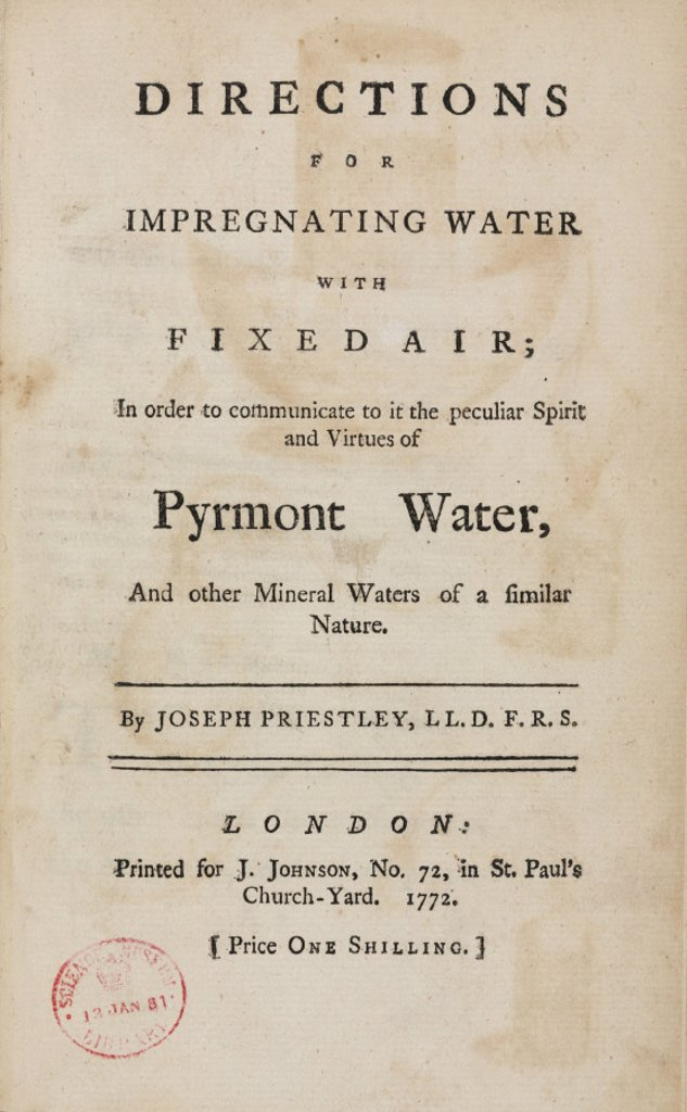 Stock Photo: 1895-28383 Title page of 'Directions for Impregnating water with fixed air', 1772.