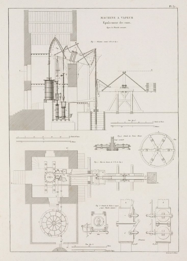 Steam engines for extracting water from mines, 1819. : Stock Photo