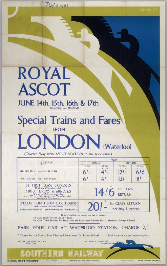 Stock Photo: 1895-2894 ´Royal Ascot 14-17 June 1938 - Special Trai