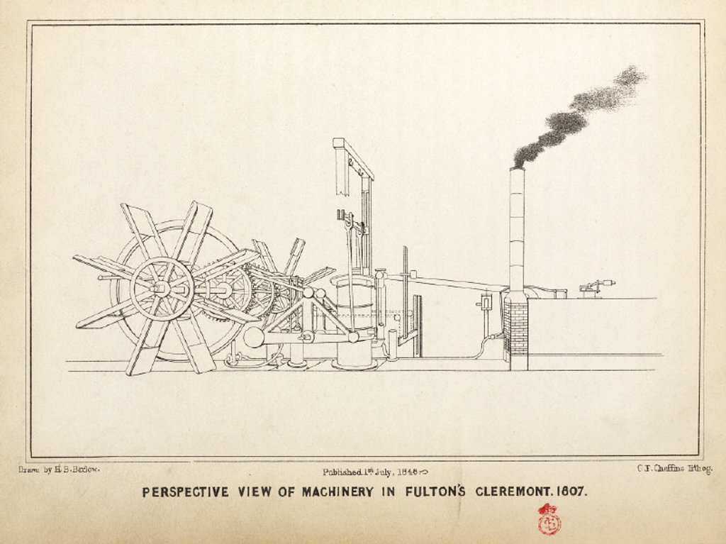 Perspective view of machinery in Fulton's 'Clermont', 1807. : Stock Photo