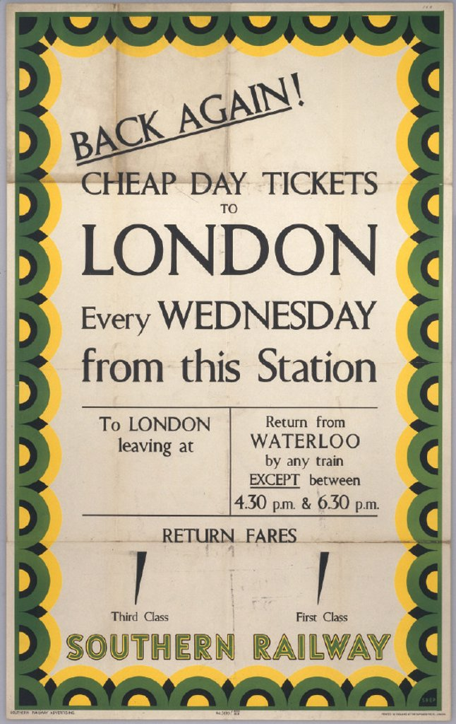 Back Again! Cheap Day Tickets to London, SR poster, 1939. : Stock Photo