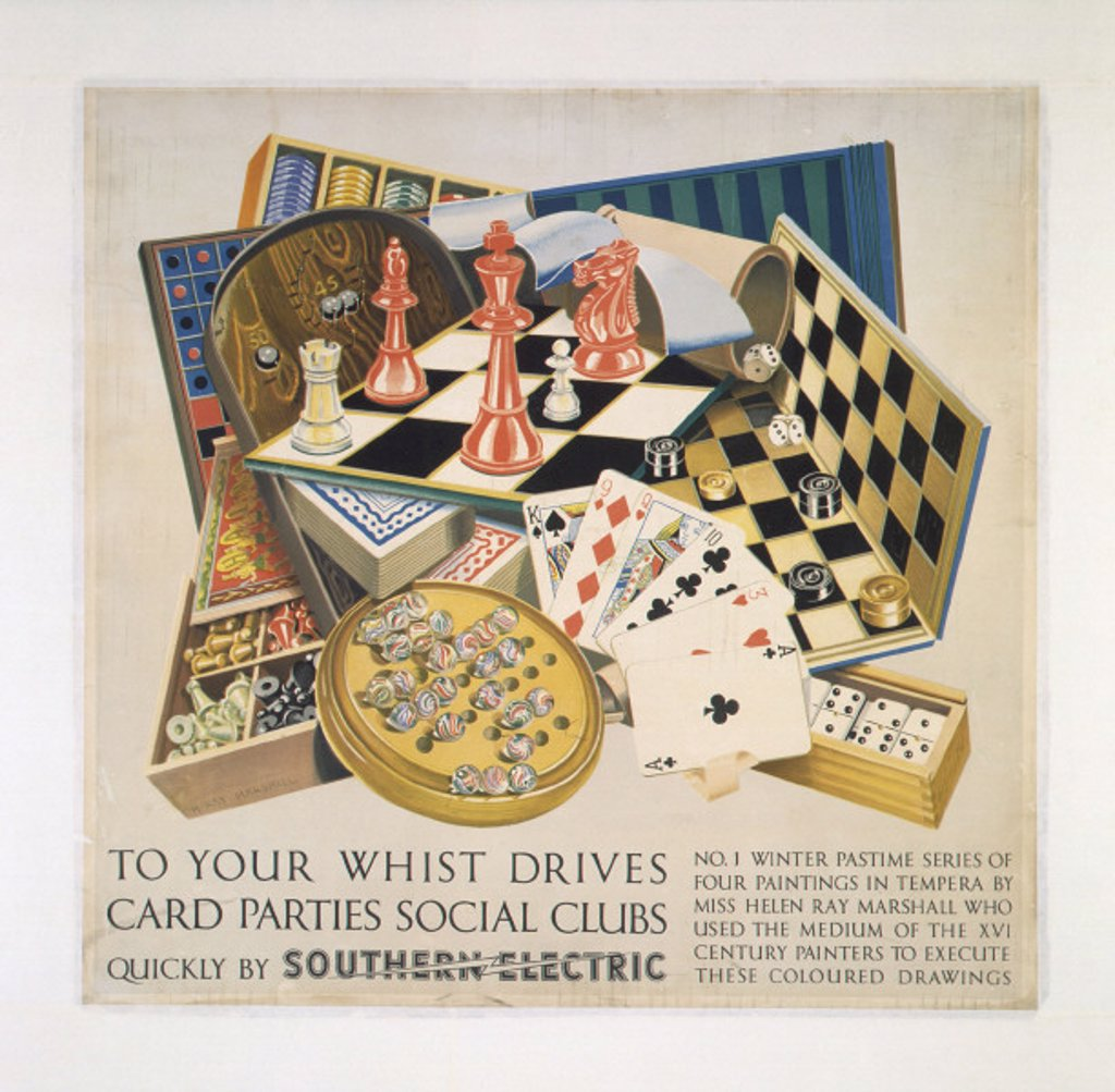 'To your Whist Drives, Card Parties, Social Clubs', SR poster, 1937. : Stock Photo