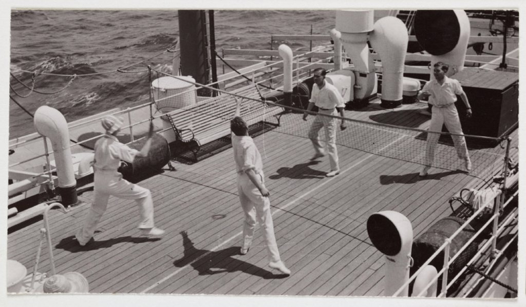 Stock Photo: 1895-29659 Badminton game on the deck of a ship, c 1935
