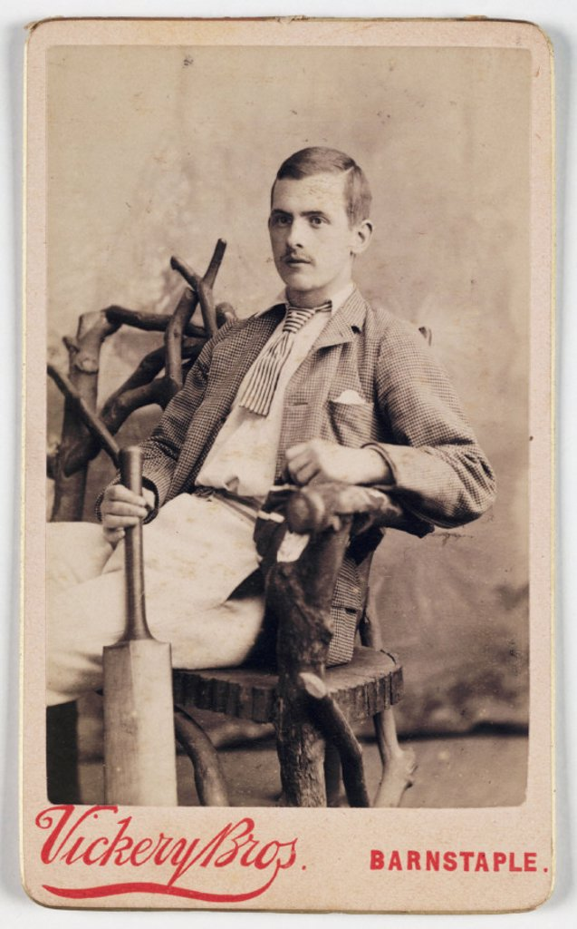 Stock Photo: 1895-29931 Man with cricket bat, c 1875