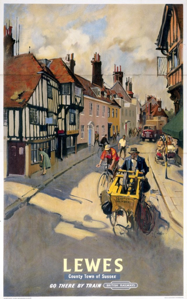 Stock Photo: 1895-3039 ´Lewes´, BR poster, 1955.