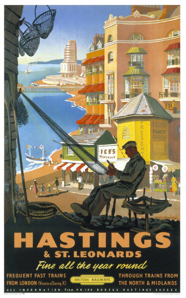 Stock Photo: 1895-3065 ´Hastings & St Leonards´, BR poster, 1952.