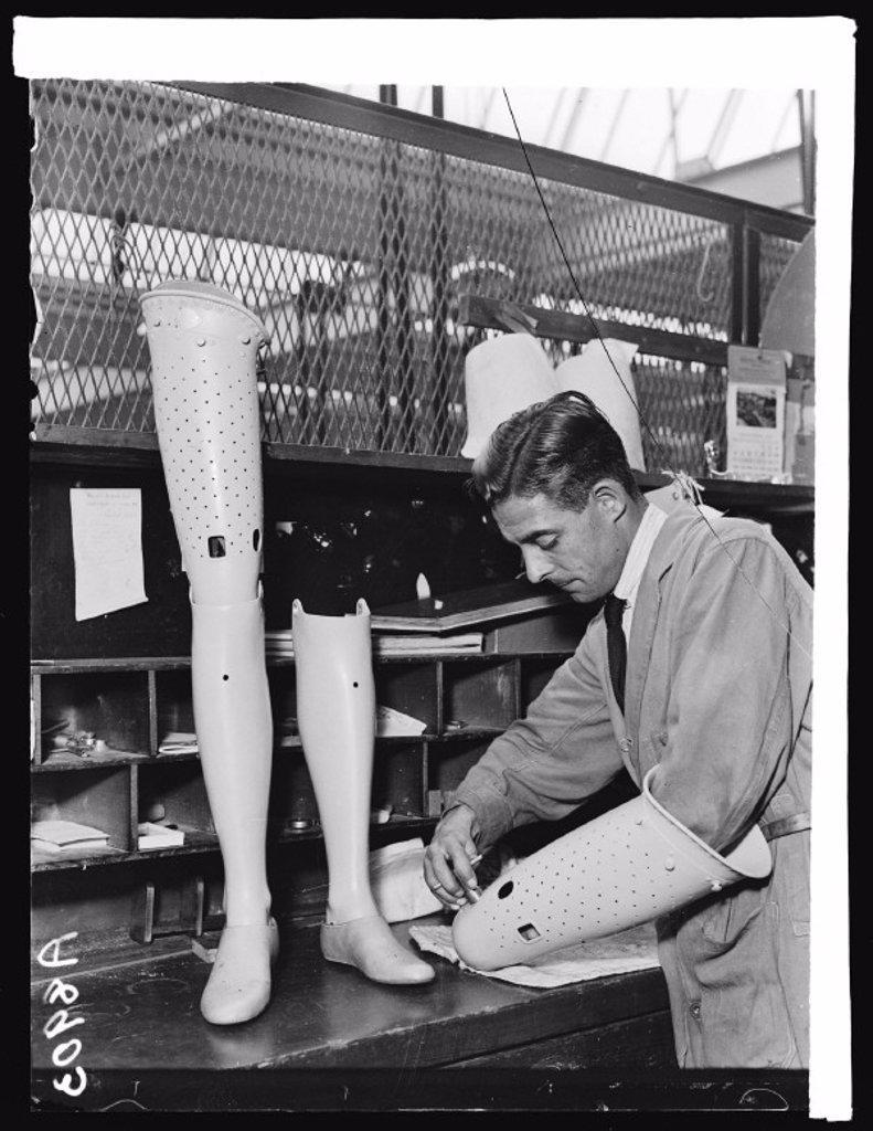Stock Photo: 1895-30700 Making an artificial leg, 1932