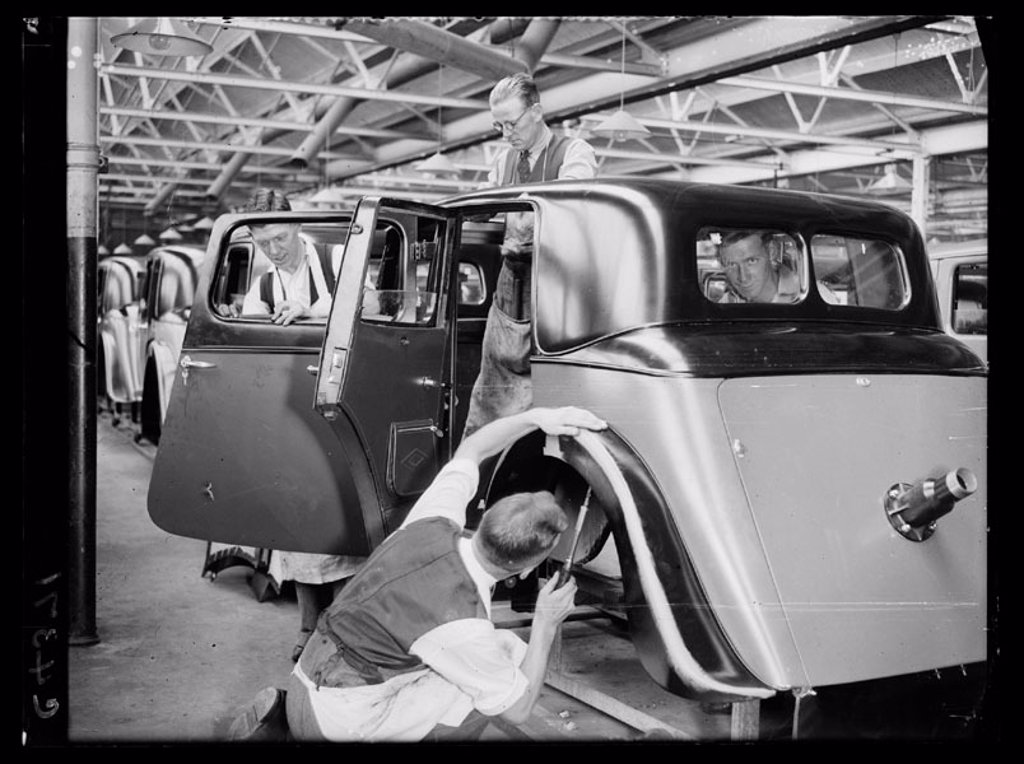 'The Manufacture of Triumph Cars at Triumph Works, Coventry', 1933. : Stock Photo