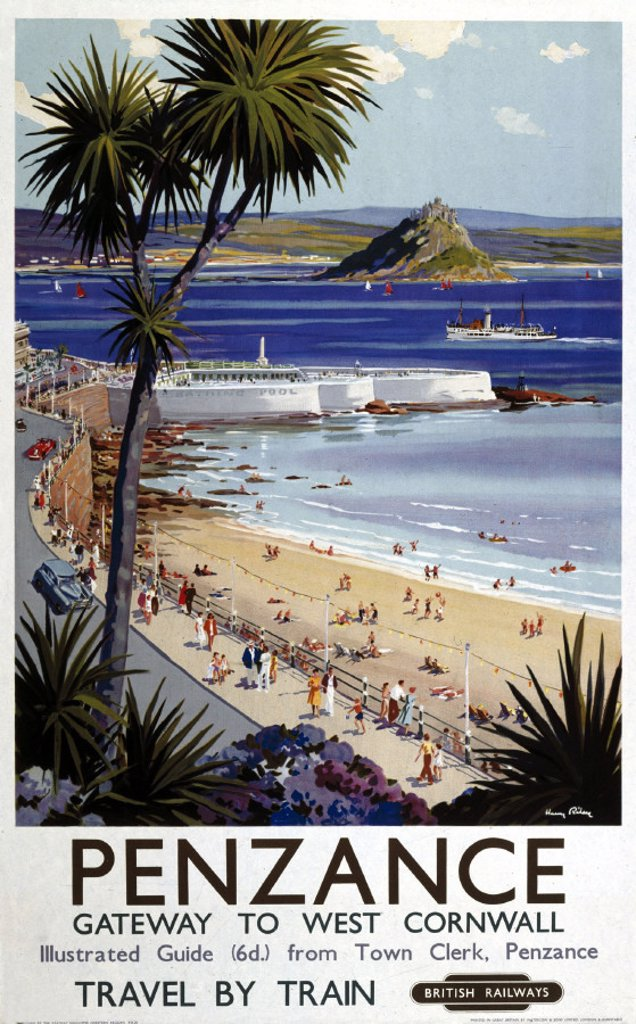 ´Penzance', BR poster, 1952. : Stock Photo