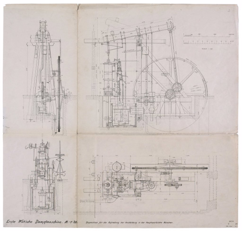 Top, side and end elevation drawings of James Watt's 'Lap' engine, 1788. : Stock Photo