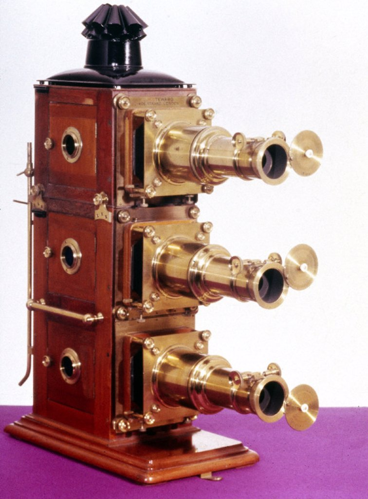 Magic lantern made by J H Steward, late 19th century. : Stock Photo