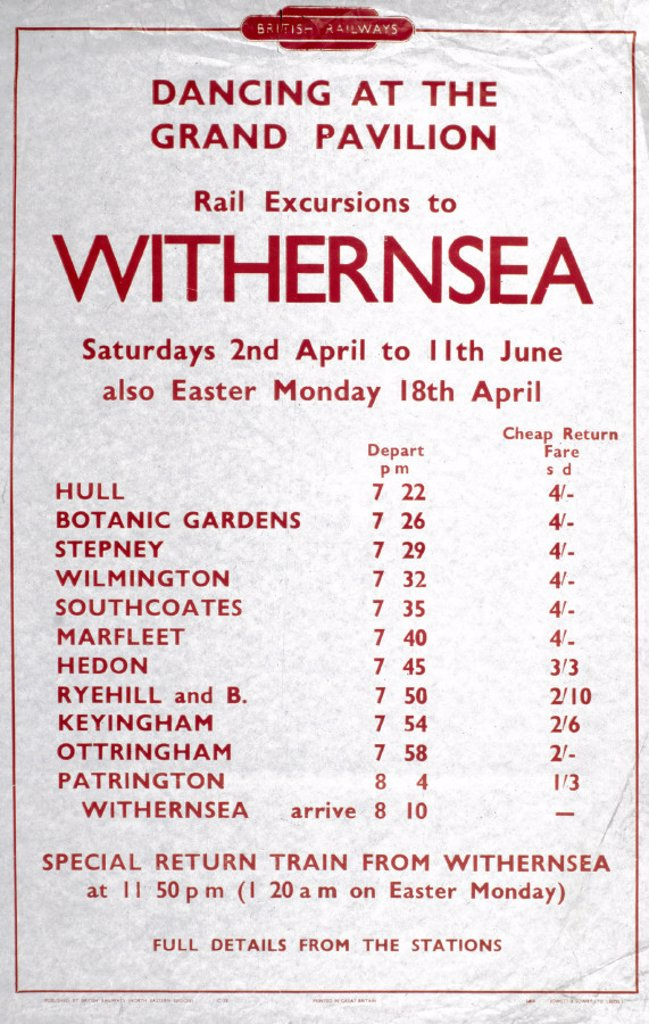 ´Rail Excursions to Withernsea', BR poster, 1948-1965. : Stock Photo