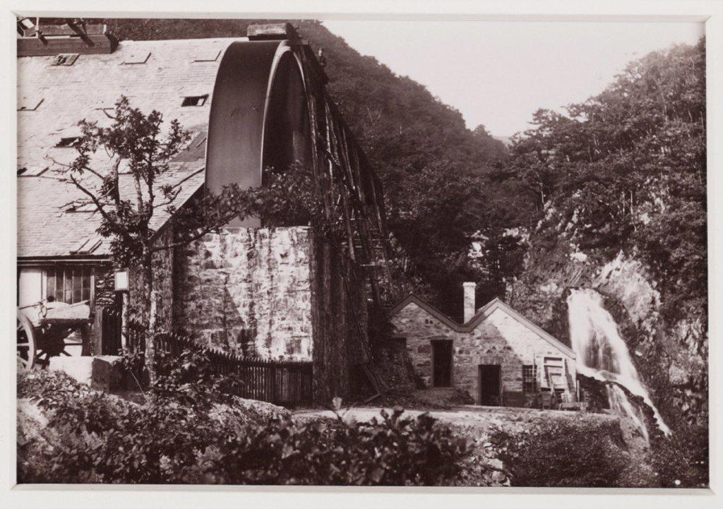 'Dolgelley. Rhaidr Mawddach and Gold Mine', c 1880 : Stock Photo