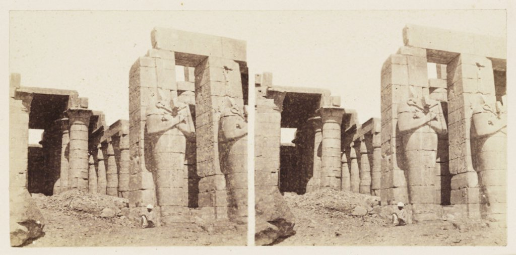 Stock Photo: 1895-32148 'Osiride Columns of the Memnonium, Thebes', 1859.