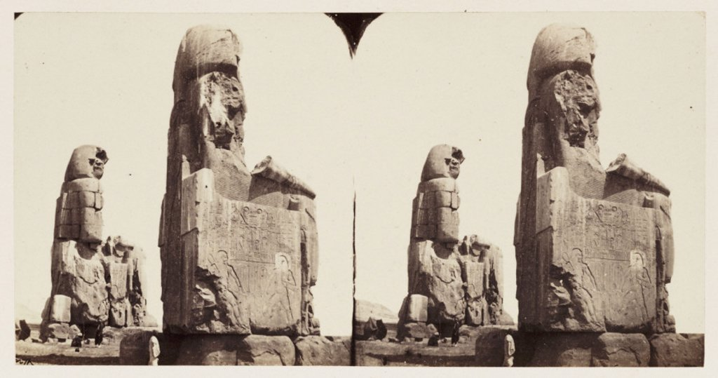 'Two Colossal Statues of Memnon - Thebes', 1859. : Stock Photo