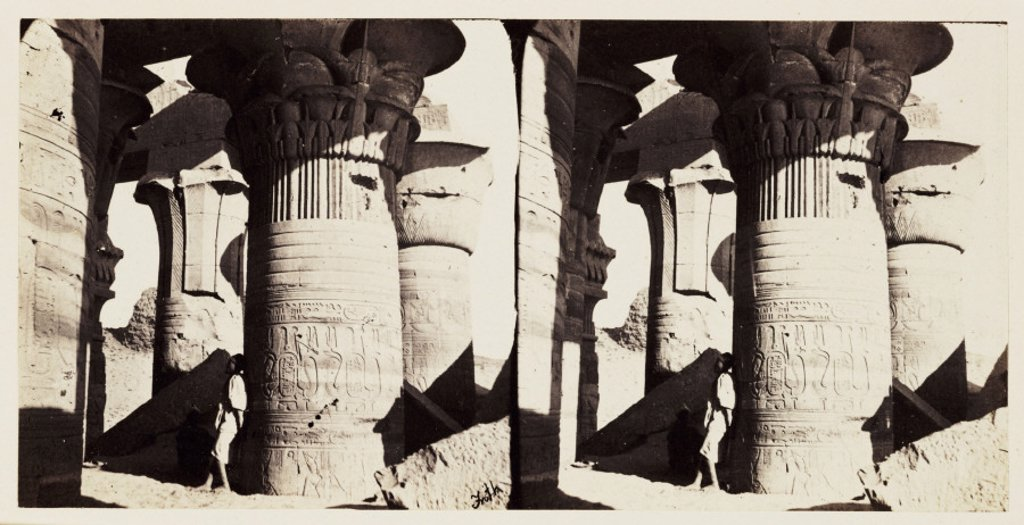 'Koum Ombos - Columns with Palm-leaf Papyrus Capitals', 1859. : Stock Photo