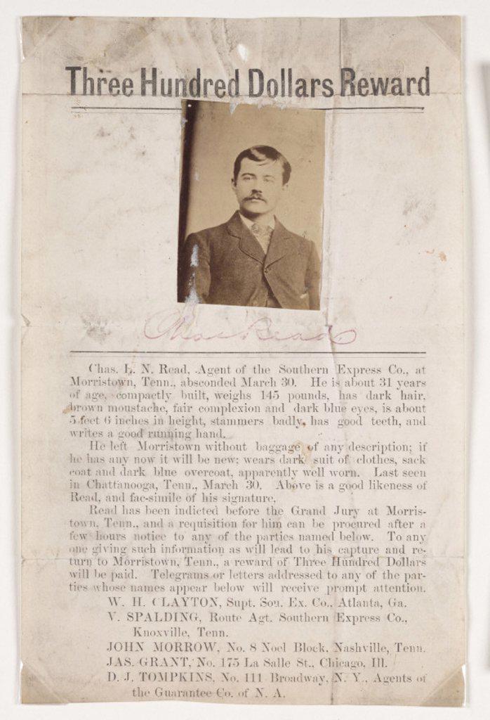 Stock Photo: 1895-32179 Reward poster, c 1890