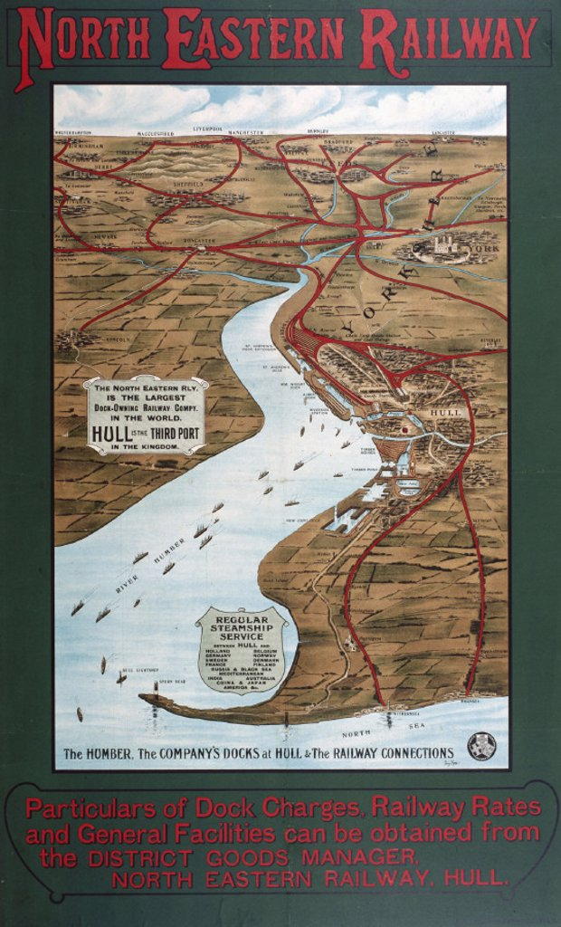 Hull Docks and the Humber Estuary, NER poster map, 1900-1915. : Stock Photo