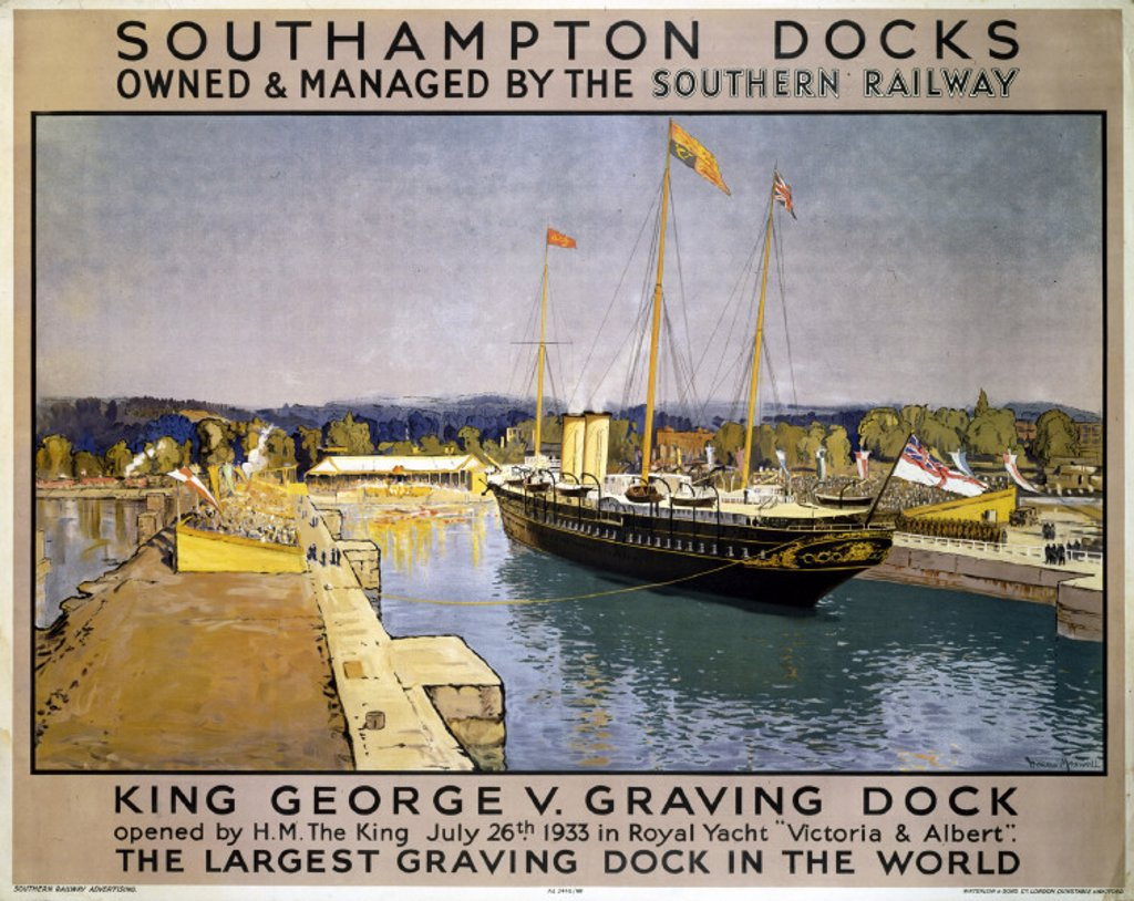 Stock Photo: 1895-3235 ´Southampton Docks', SR poster, 1933.