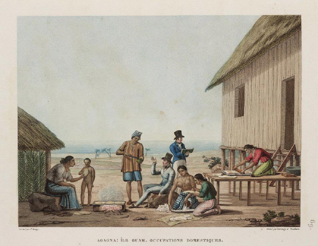 Domestic occupations, Agagna, Guam, 1817-1820. : Stock Photo