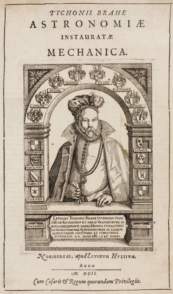 Tycho Brahe, Danish astronomer, 1586. : Stock Photo