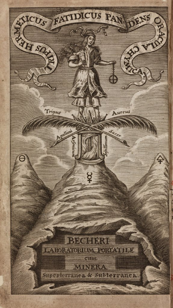 Allegorical figure and elements, 1689. : Stock Photo