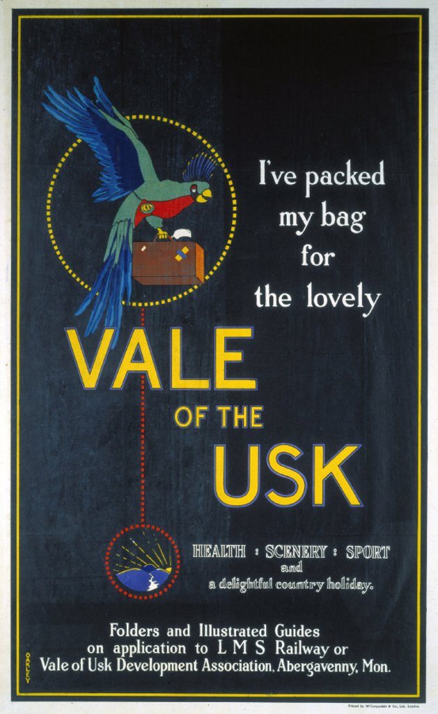 ´Vale of the Usk', LMS poster, 1923-1947. : Stock Photo